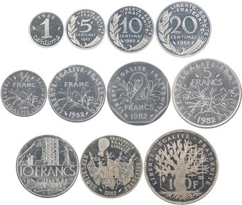 Ve République, coffret 11 piéforts en argent, 1982 Pessac