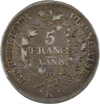 Directoire, 5 francs Union et Force [UNION desserré, grande feuille, glands], An 8/6 Bordeaux