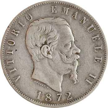 Italie (royaume d'), Victor-Emmanuel II, 5 lire, 1872 Rome