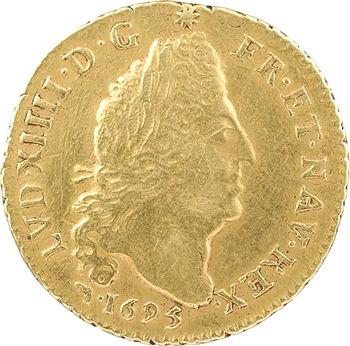 Louis XIV, louis d'or aux quatre L, réformation, 1695 Lyon