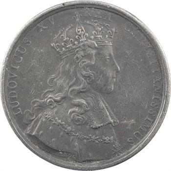 Louis XV, sacre à Reims le 25 octobre 1722, par Rög et Blanc, frappe en étain, 1722 Paris