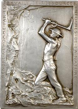 Roty (L.-O.) : Mines de Lens, plaque en argent, 1899 Paris