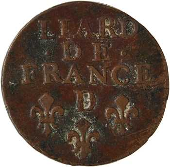 Louis XIV, liard 3e type, 1693 Lyon