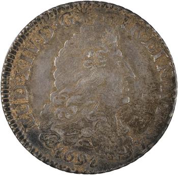 Louis XIV, quart d'écu aux huit L, 1er type, 1691 Dijon