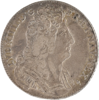 Louis XIV, quart d'écu aux trois couronnes, 1710 Reims