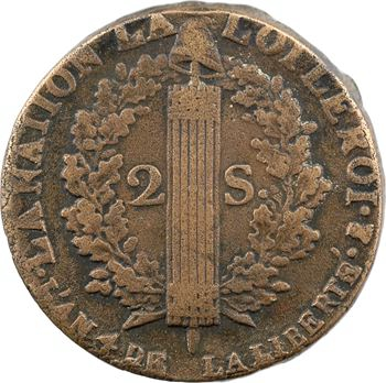 Constitution, 2 sols FRANÇOIS, An 4, 1792 Pau