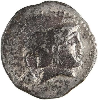 Aulerques Cénomans (ou Carnutes), denier à la tête de Pallas à droite et petite tête, c.80-50 av. J.-C