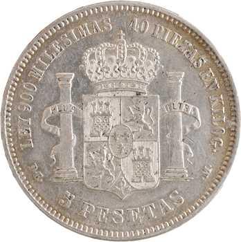Espagne, Alphonse XII, 5 pesetas, 1876 (18 – 76) Madrid
