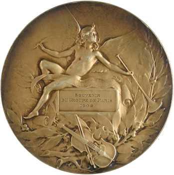 Coudray (L.) : Orphée (la musique), en argent, 1902 Paris