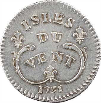 Îles du Vent (Antilles), Louis XV, 12 sols, 1731 La Rochelle