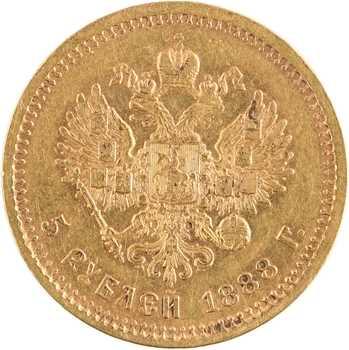 Russie, Alexandre III, 5 roubles, 1888 Saint-Pétersbourg