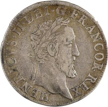 Henri II, teston frappé au moulin de Paris, 3e type, 1553 Paris