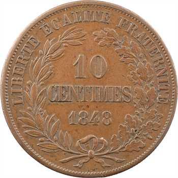 IIe République, essai-piéfort hybride de 10 centimes double revers, 1848 Paris
