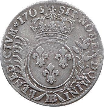 Monnayage de Strasbourg, Louis XIV, pièce de 33 sols aux insignes, 1705 Strasbourg