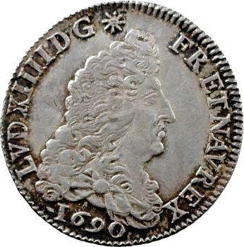 Louis XIV, quart d'écu aux huit L, 1er type, 1690 Rouen