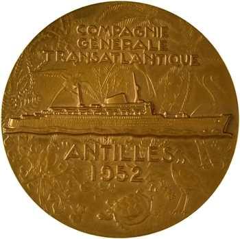 IVe République, Compagnie Générale Transatlantique (C.G.T.), le paquebot Antilles, par Delamarre, 1952 (1970) Paris