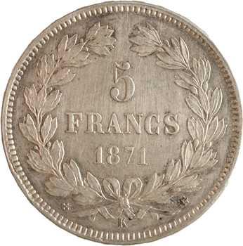 Gvt de Défense nationale, 5 francs Cérès sans légende, 1871 Bordeaux