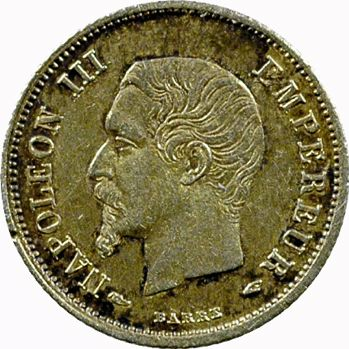 Second Empire, 20 centimes tête nue, 1854 Paris