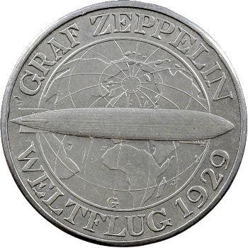 Allemagne (Empire d'), 3 reichsmark Zeppelin, 1930 Karlsruhe
