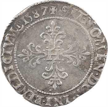 Henri III, demi-franc au col plat, 1587 Troyes