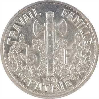 État français, essai de 5 francs Pétain type I en argent, 1941 Paris