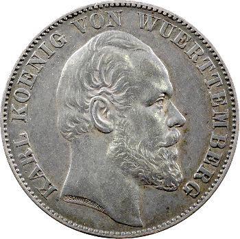 Allemagne, Wurtemberg (royaume de), Charles Ier, thaler à l'ange, 1871 Stuttgart
