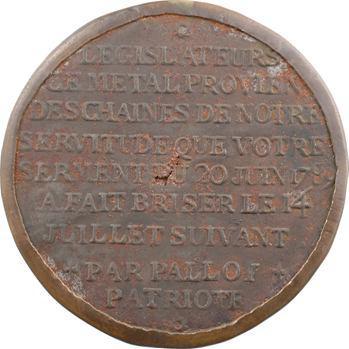 Constitution, hommage aux membres de l'Assemblée constituante, fer avec cerclage, par Palloy ? 1789