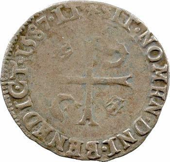 Henri III, douzain du Dauphiné aux 2 H couronnées, 1587 Grenoble