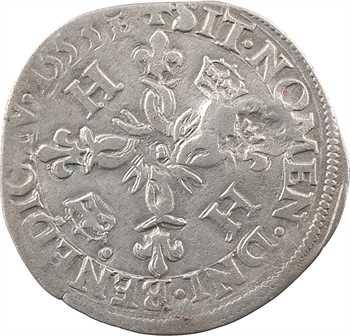 Louis XIII, quinzain contremarqué d'un lis sur douzain aux croissants d'Henri II [1553] Troyes, juin 1640