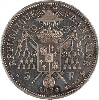 IIIe République, essai satirique de 5 francs Mac-Mahon, 1874 Bruxelles (Würden)
