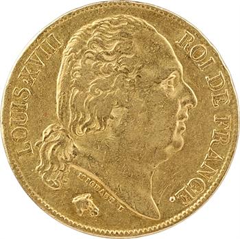 Louis XVIII, 20 francs buste nu, 1818 Paris