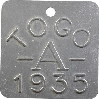 Togo, plaque de taxe, A, 1935