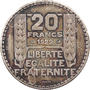 IIIe République, essai uniface de revers de 20 francs Turin, 1929 Paris