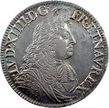 Louis XIV, écu à la cravate, 2e émission par F. Warin, 1679 Paris