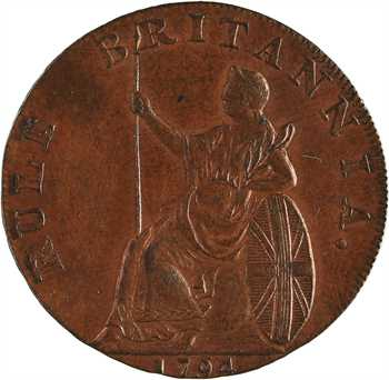 Grande-Bretagne, Georges III, Hampshire, halfpenny Earl Howe, 1794