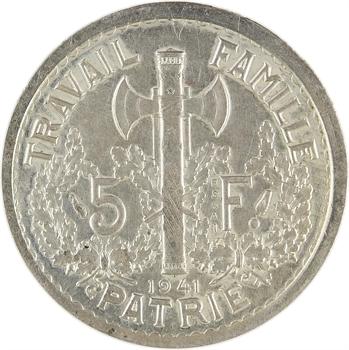 État français, essai double revers de 5 francs Pétain type I et III en argent, 1941 Paris, non répertoriée