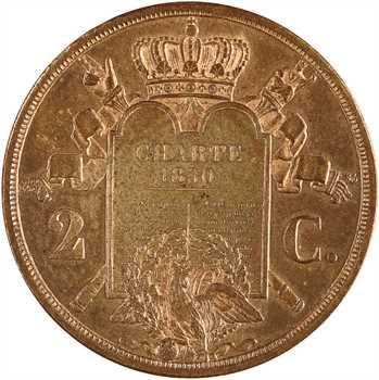 Louis-Philippe Ier, essai de 2 centimes à la charte, 1847 Paris