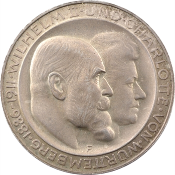 Allemagne, Wurtemberg (royaume de), Guillaume II, 3 mark d'hommage, 1911 Stuttgart PROOF