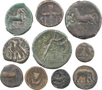 Lot de 10 monnaies grecques en bronze comprenant Bruttium, Syracuse (2 ex.), Athènes, Sycione, Macédoine, Syrie, Égypte, Carthage et Numidi