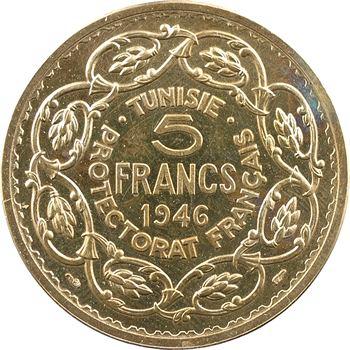 Tunisie (Protectorat français), Mohamed Lamine, essai-piéfort de 5 francs, 1946 Paris