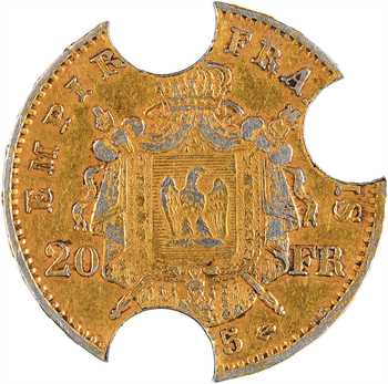 Second Empire, 20 francs tête laurée, faux en platine annulé, 1865 Paris