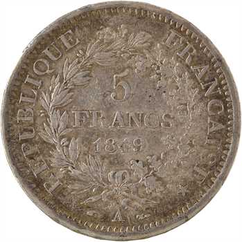 IIe République, 5 Francs Hercule, 1849 Paris