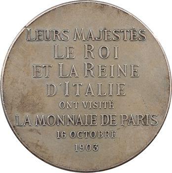 Italie, Victor-Emmanuel III, visite du Roi et de la Reine à la Monnaie de Paris le 16 octobre, 1903 Paris