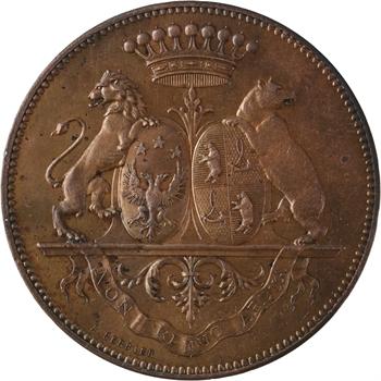 IIIe République, 50e anniversaire de mariage du Baron Renoüard, en cuivre, 1875 Paris