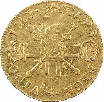 Louis XIV, louis d'or aux huit L et aux insignes, 1702 Troyes