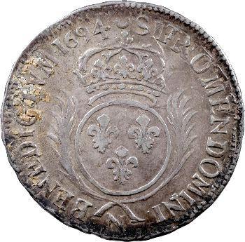Louis XIV, demi-écu aux palmes, 1694 Montpellier