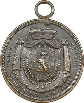 Lyon, la Fédération lyonnaise, Union et Force, uniface, avec bélière, 1790