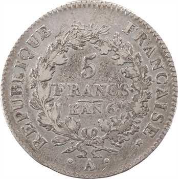 Directoire, 5 francs Union et Force [UNION serré, petite feuille, glands], An 6 Paris