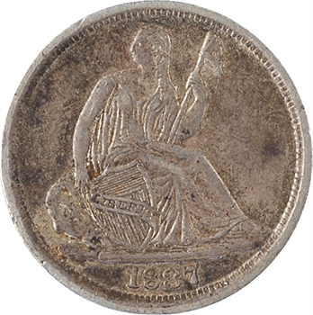 États-Unis, half dime Liberty seated, 1837 Philadelphie