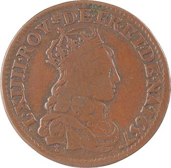 Louis XIV, liard de France à la double effigie, type 6.1 (.L.XIIII/.L.XIIII), 1657 Corbeil
